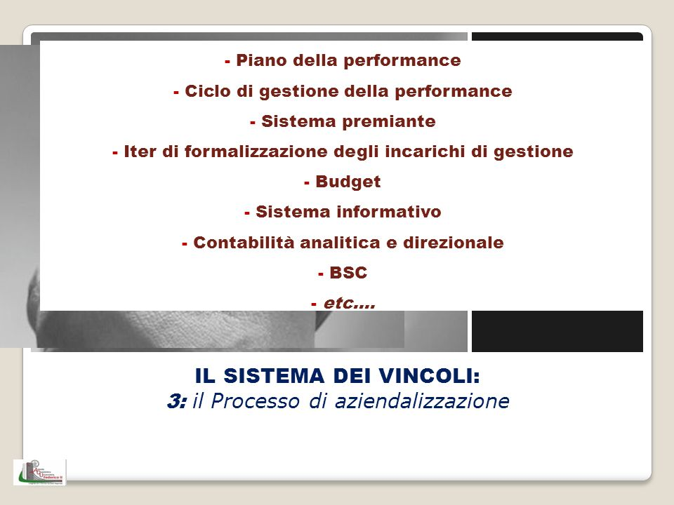 IL SISTEMA DEI VINCOLI: 3: il Processo di aziendalizzazione