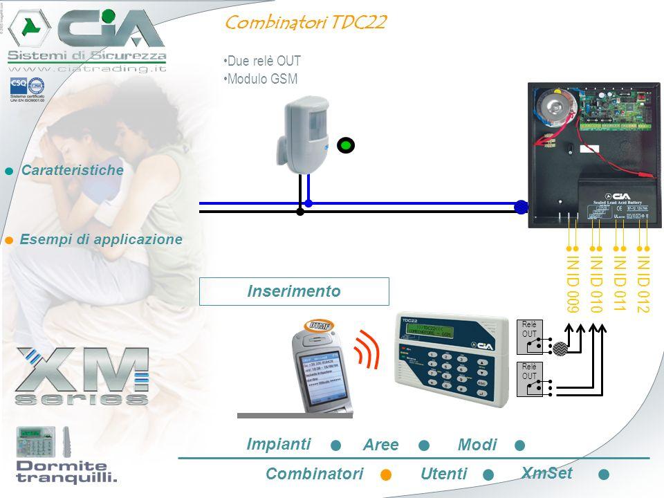 Combinatori TDC22 IN ID 009 IN ID 010 IN ID 011 IN ID 012 Inserimento