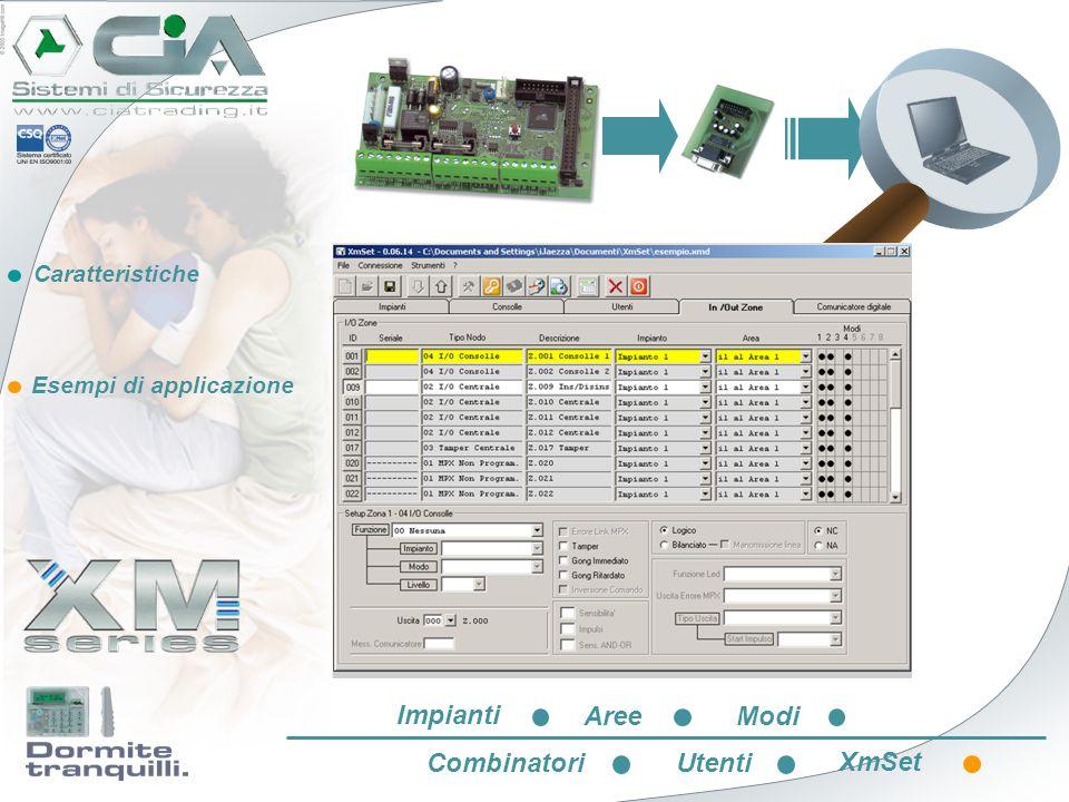 Collegamento con PC Impianti Aree Modi Combinatori Utenti XmSet