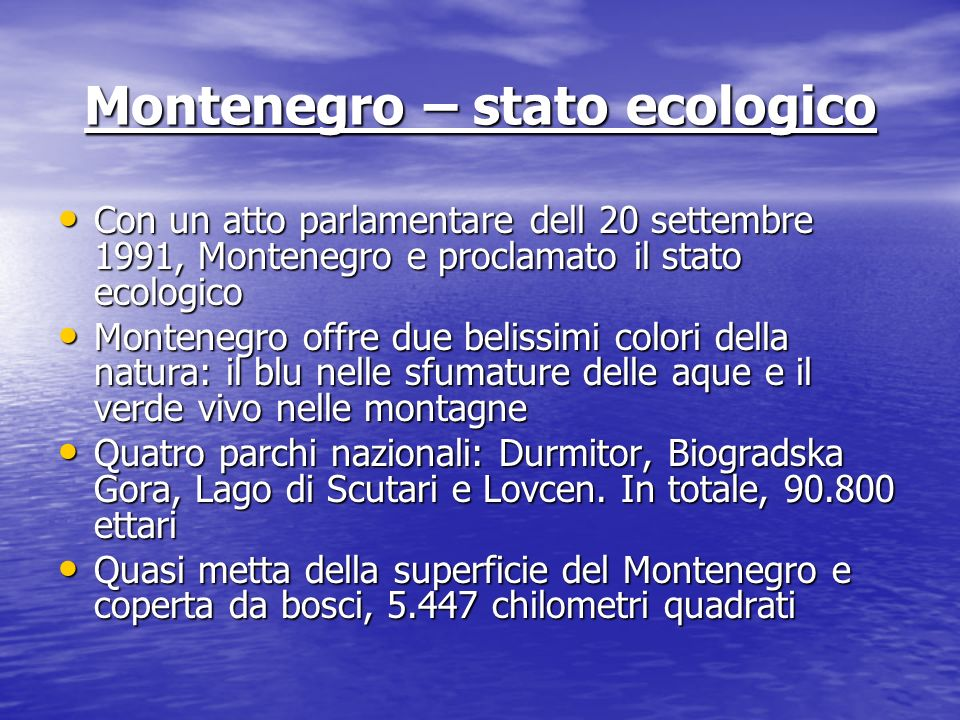 Montenegro – stato ecologico