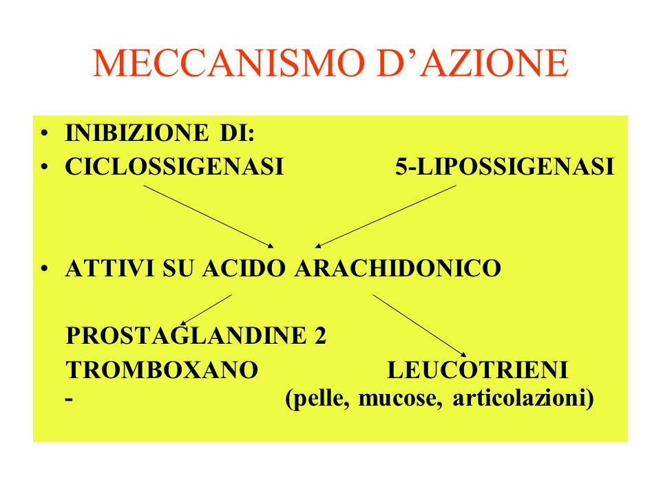 MECCANISMO D'AZIONE INIBIZIONE DI: CICLOSSIGENASI 5-LIPOSSIGENASI