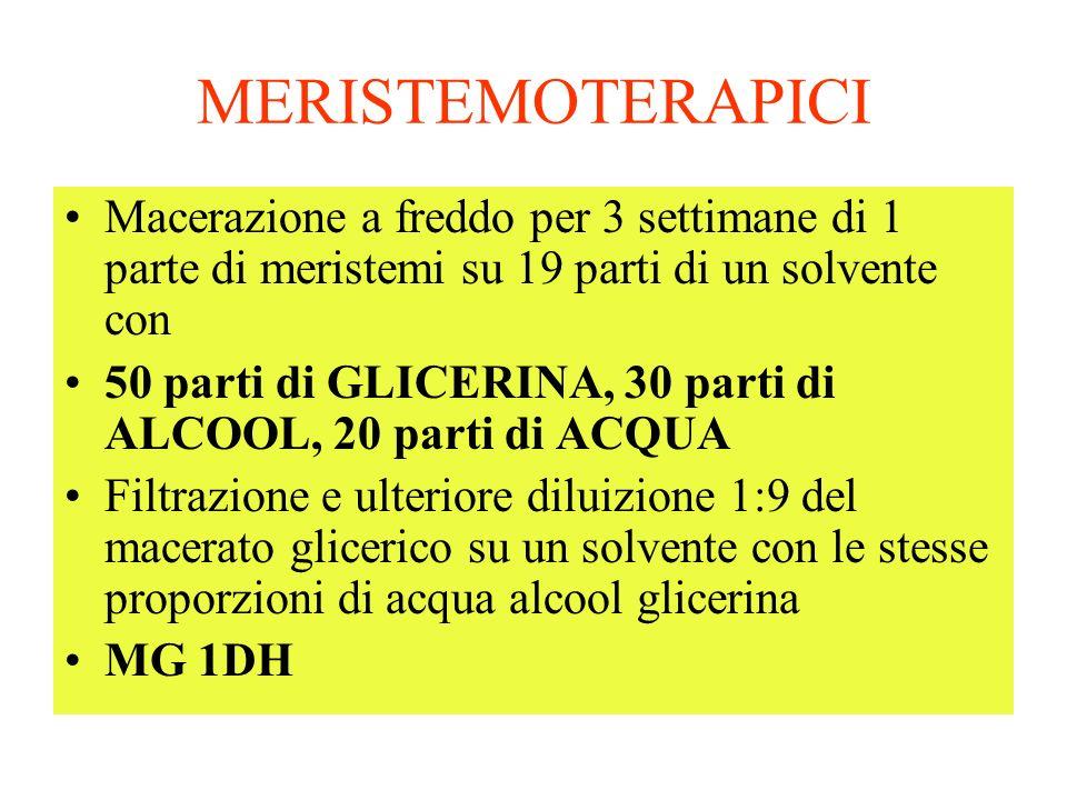MERISTEMOTERAPICI Macerazione a freddo per 3 settimane di 1 parte di meristemi su 19 parti di un solvente con.