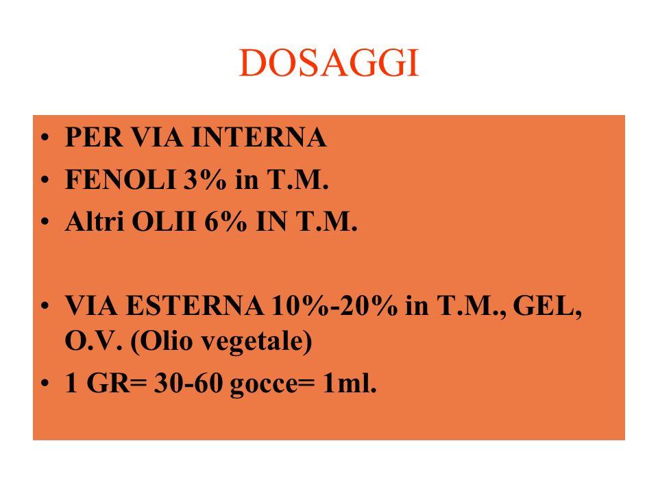 DOSAGGI PER VIA INTERNA FENOLI 3% in T.M. Altri OLII 6% IN T.M.