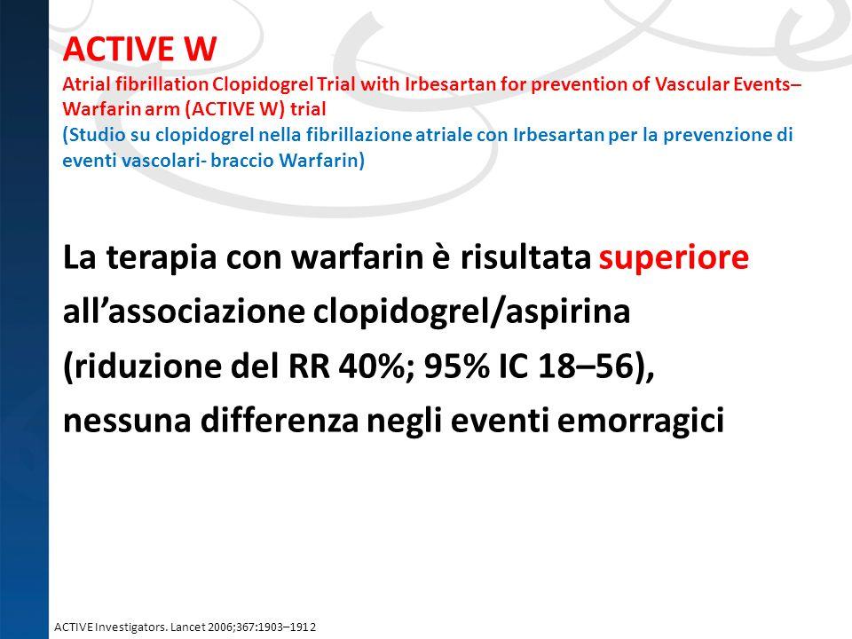 ACTIVE W Atrial fibrillation Clopidogrel Trial with Irbesartan for prevention of Vascular Events–Warfarin arm (ACTIVE W) trial (Studio su clopidogrel nella fibrillazione atriale con Irbesartan per la prevenzione di eventi vascolari- braccio Warfarin)