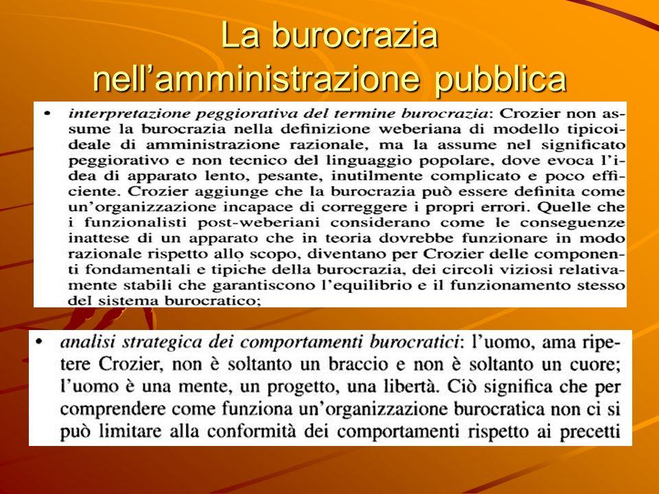 La burocrazia nell'amministrazione pubblica
