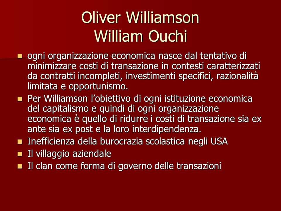 Oliver Williamson William Ouchi