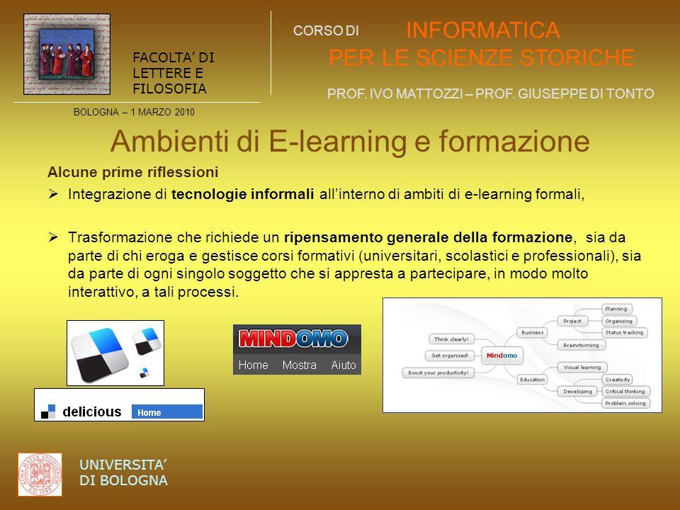 Ambienti di E-learning e formazione