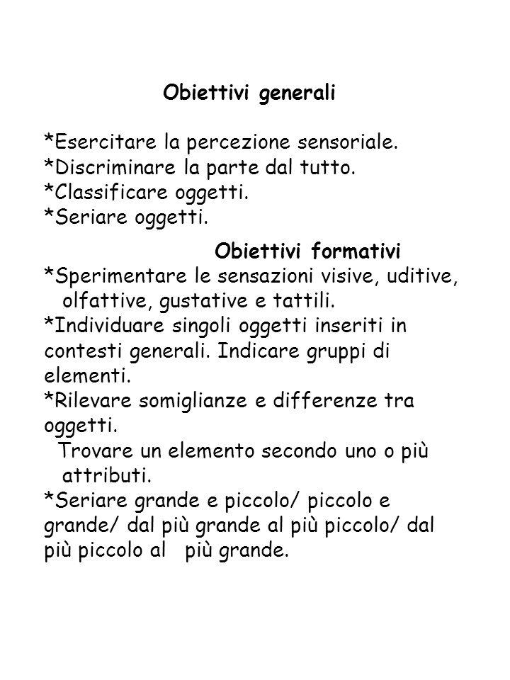 Obiettivi generali *Esercitare la percezione sensoriale. *Discriminare la parte dal tutto. *Classificare oggetti.
