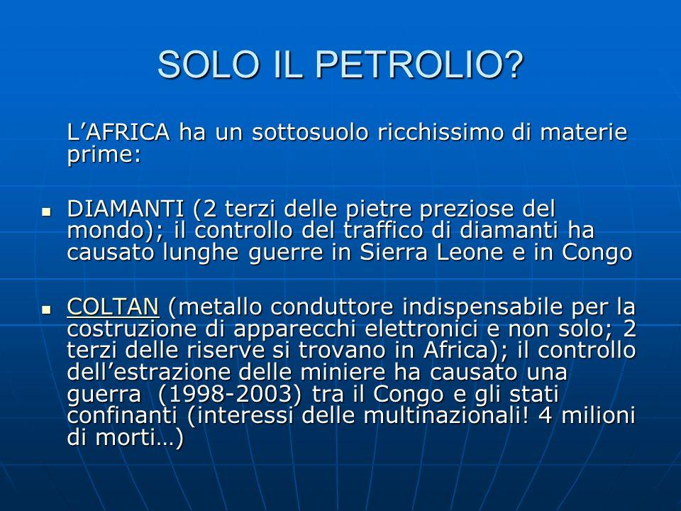 SOLO IL PETROLIO L'AFRICA ha un sottosuolo ricchissimo di materie prime: