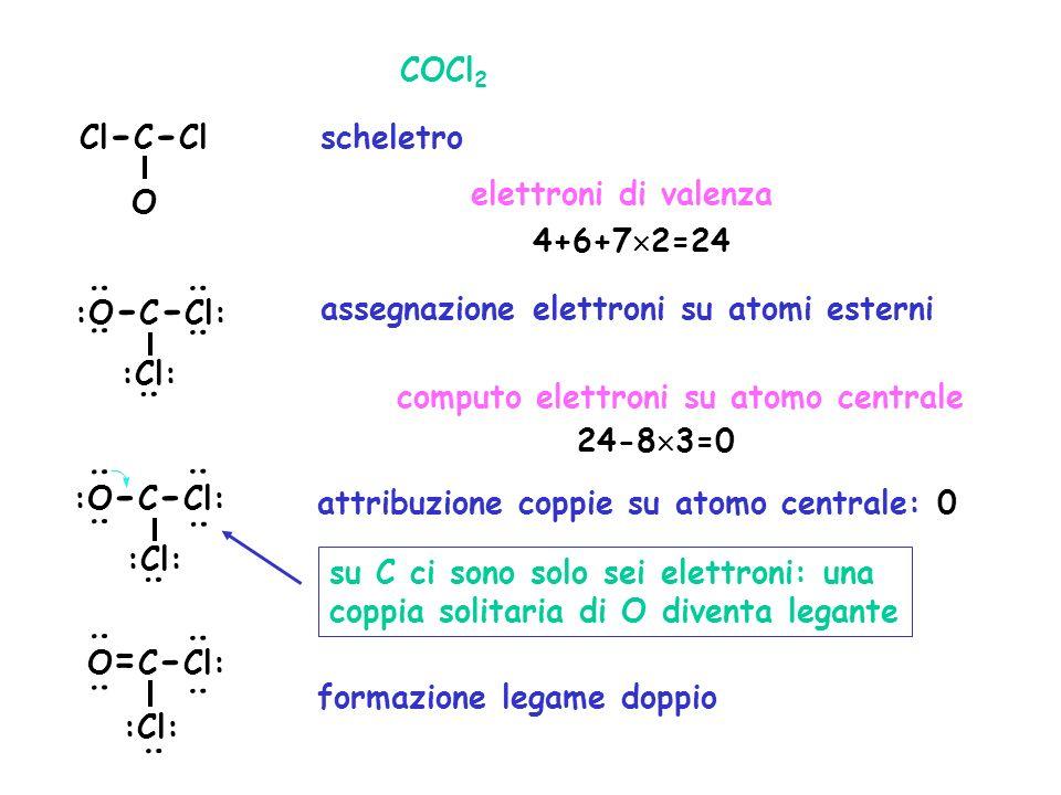 COCl2 Cl-C-Cl. scheletro. elettroni di valenza. O. 4+6+72=24. : : :O-C-Cl: assegnazione elettroni su atomi esterni.