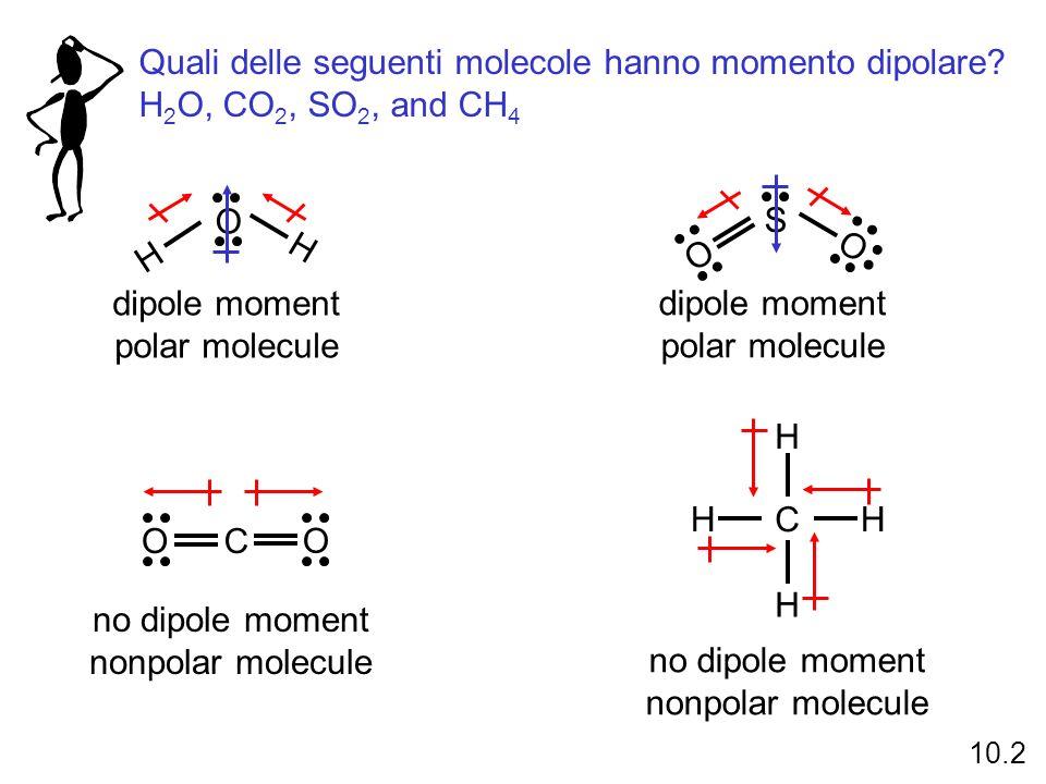 Quali delle seguenti molecole hanno momento dipolare
