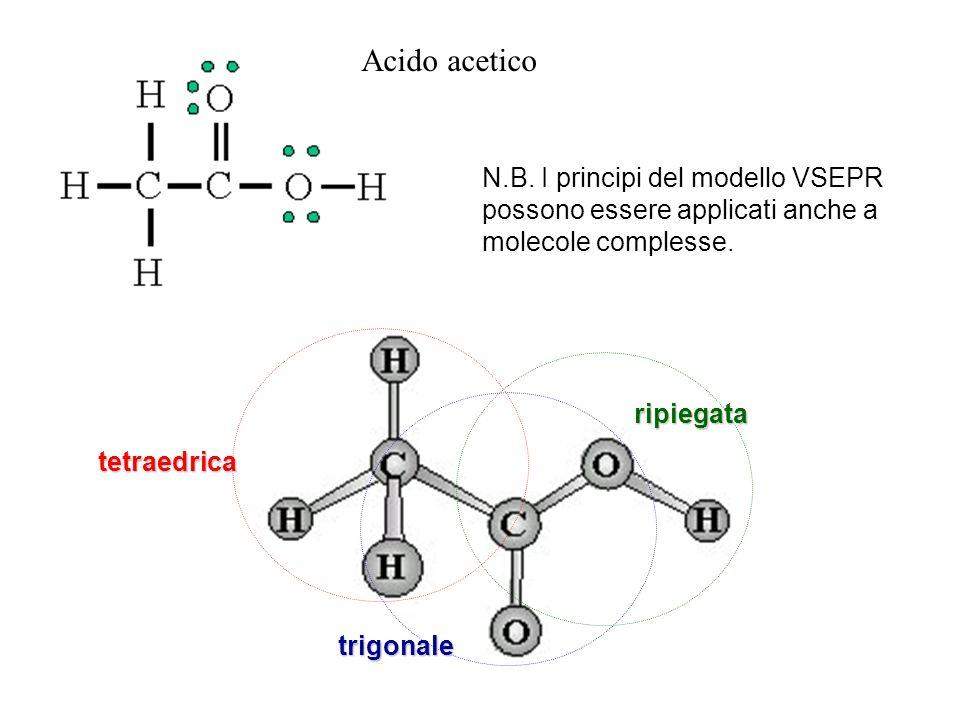 Acido acetico N.B. I principi del modello VSEPR possono essere applicati anche a molecole complesse.