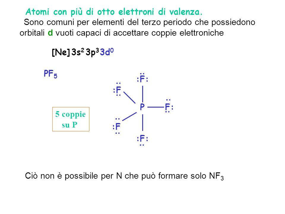 2. Atomi con più di otto elettroni di valenza.
