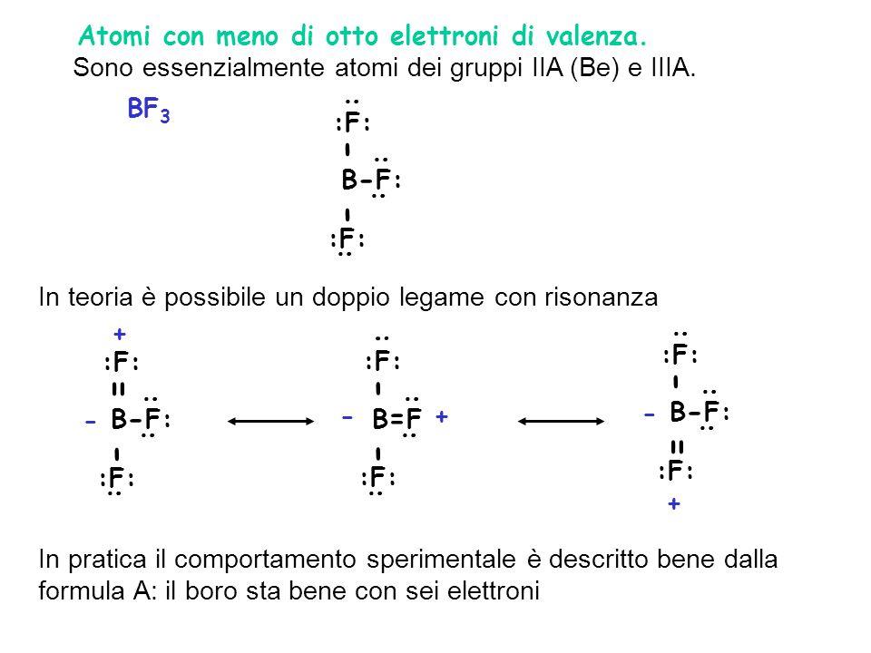 - = - 2. Atomi con meno di otto elettroni di valenza.