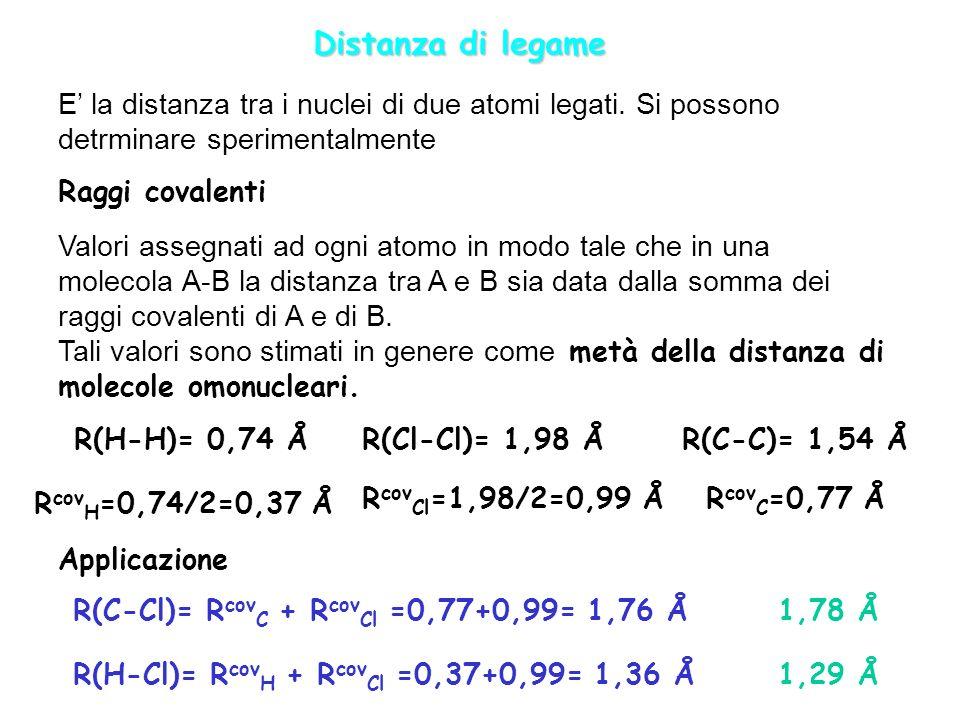 Distanza di legame E' la distanza tra i nuclei di due atomi legati. Si possono detrminare sperimentalmente.