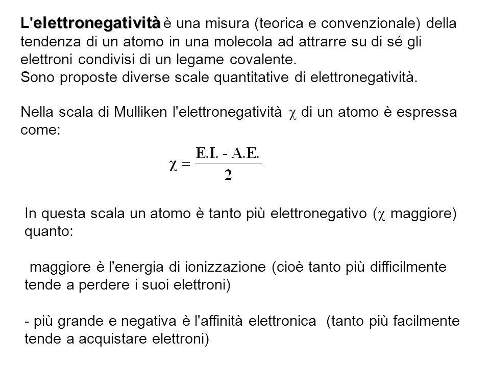 L elettronegatività è una misura (teorica e convenzionale) della tendenza di un atomo in una molecola ad attrarre su di sé gli elettroni condivisi di un legame covalente.