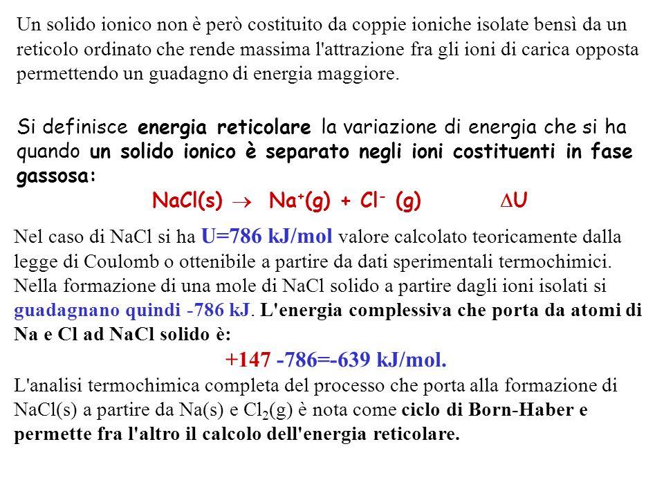 NaCl(s)  Na+(g) + Cl- (g) U