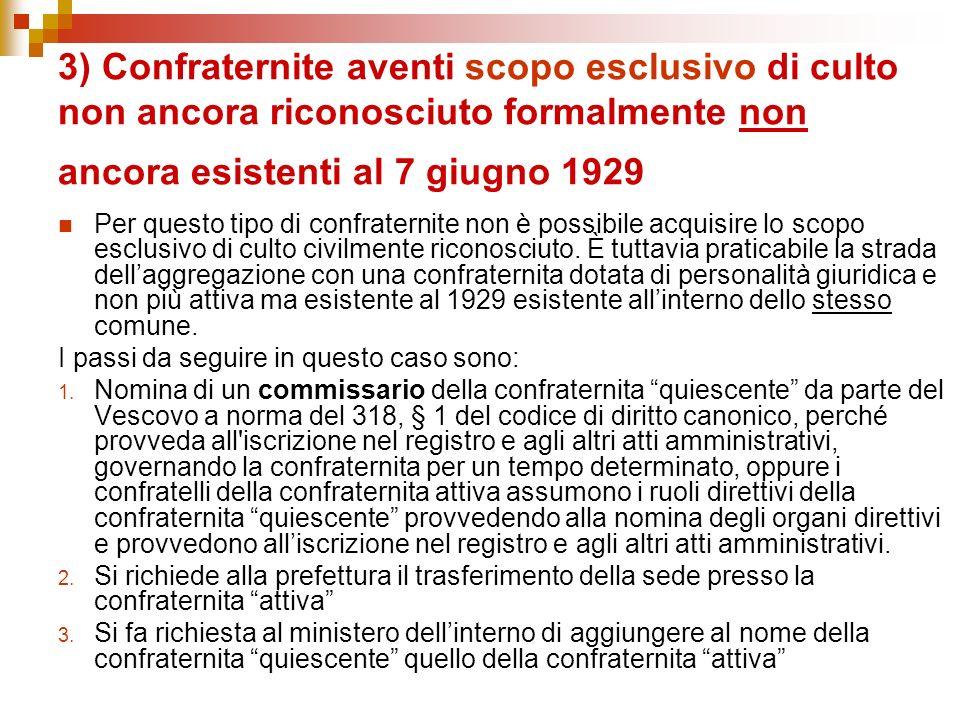 3) Confraternite aventi scopo esclusivo di culto non ancora riconosciuto formalmente non ancora esistenti al 7 giugno 1929