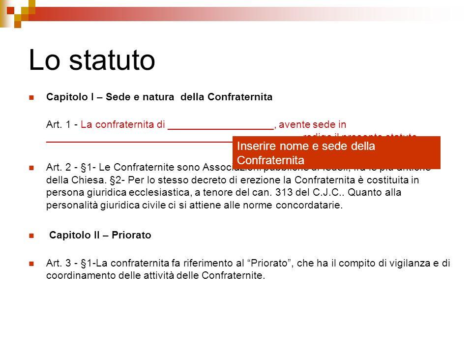 Lo statuto Inserire nome e sede della Confraternita