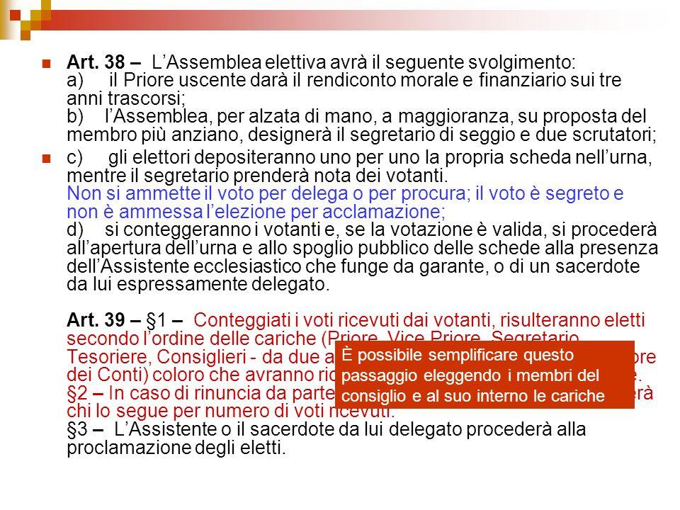 Art. 38 – L'Assemblea elettiva avrà il seguente svolgimento: a) il Priore uscente darà il rendiconto morale e finanziario sui tre anni trascorsi; b) l'Assemblea, per alzata di mano, a maggioranza, su proposta del membro più anziano, designerà il segretario di seggio e due scrutatori;