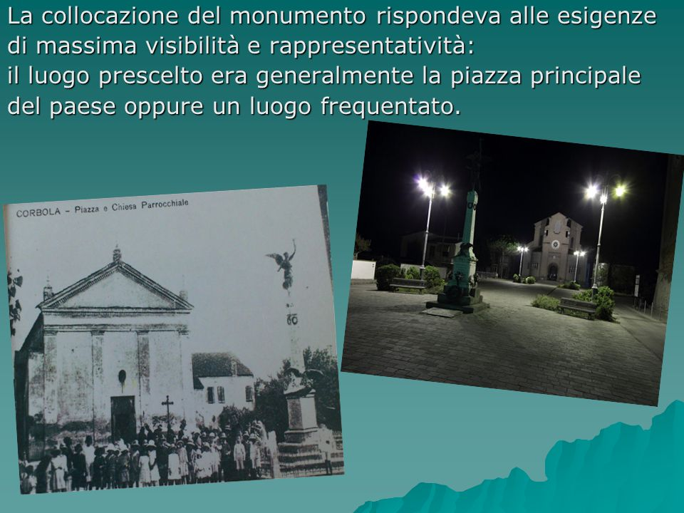 La collocazione del monumento rispondeva alle esigenze