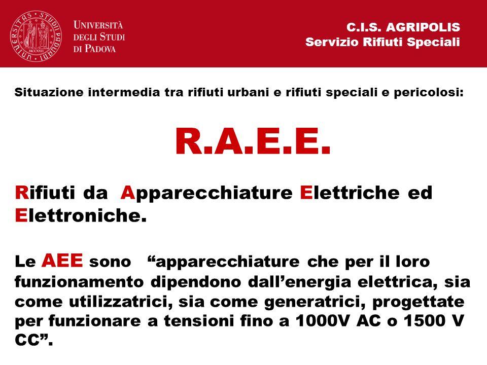 R.A.E.E. Rifiuti da Apparecchiature Elettriche ed Elettroniche.