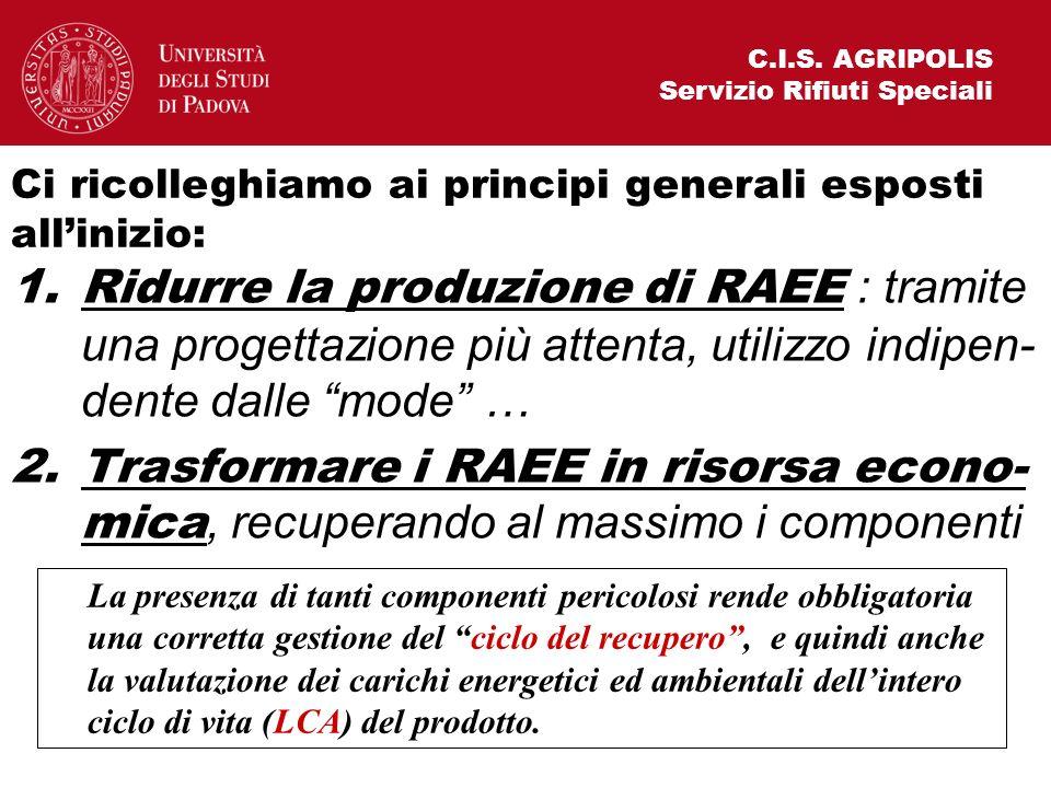 C.I.S. AGRIPOLIS Servizio Rifiuti Speciali. Ci ricolleghiamo ai principi generali esposti all'inizio: