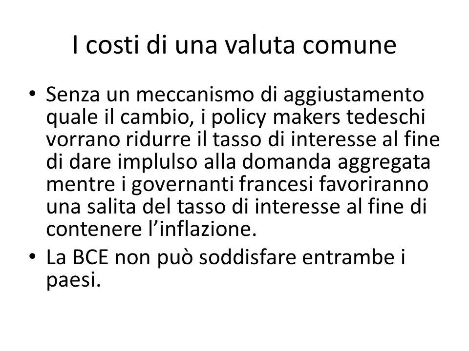 I costi di una valuta comune