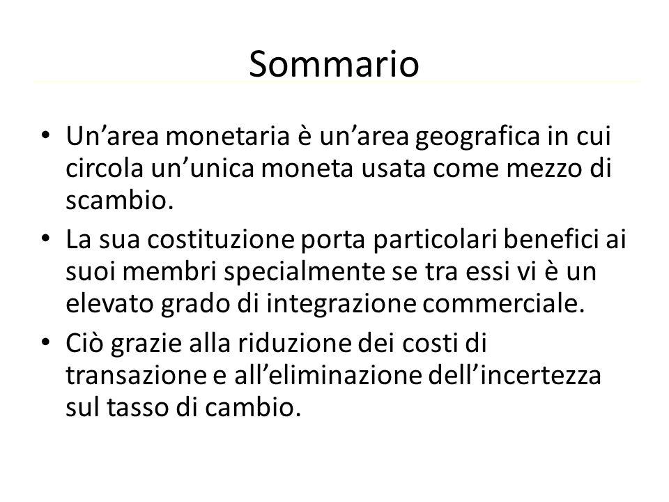 Sommario Un'area monetaria è un'area geografica in cui circola un'unica moneta usata come mezzo di scambio.
