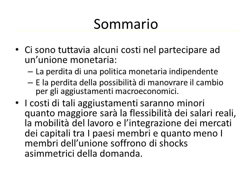 Sommario Ci sono tuttavia alcuni costi nel partecipare ad un'unione monetaria: La perdita di una politica monetaria indipendente.