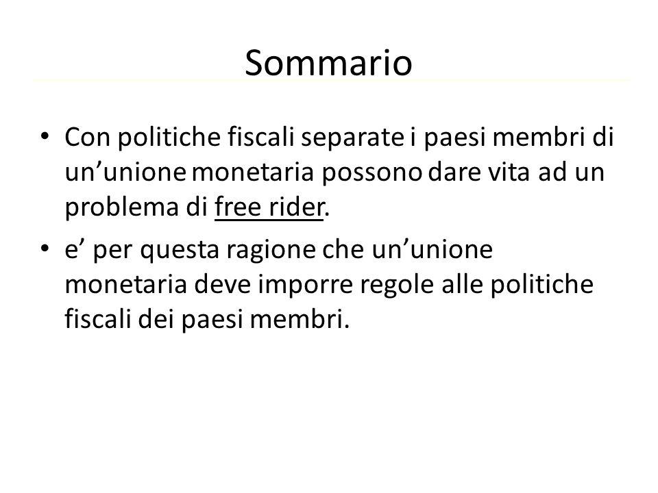 Sommario Con politiche fiscali separate i paesi membri di un'unione monetaria possono dare vita ad un problema di free rider.