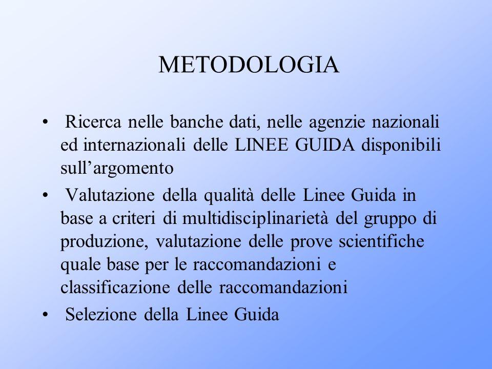 METODOLOGIA Ricerca nelle banche dati, nelle agenzie nazionali ed internazionali delle LINEE GUIDA disponibili sull'argomento.