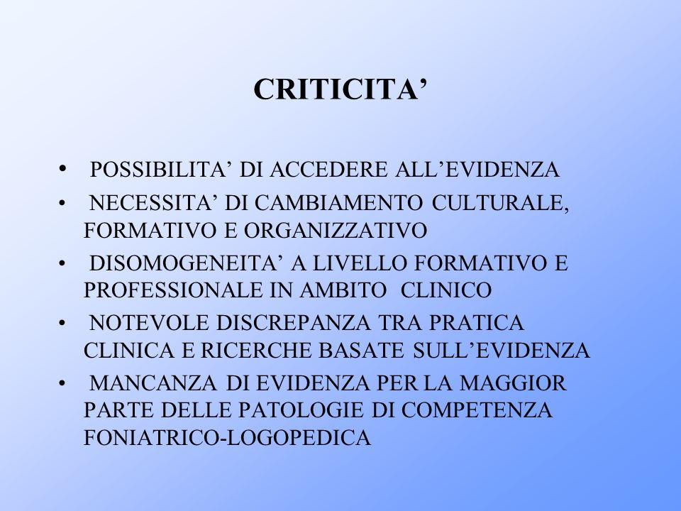 CRITICITA' POSSIBILITA' DI ACCEDERE ALL'EVIDENZA