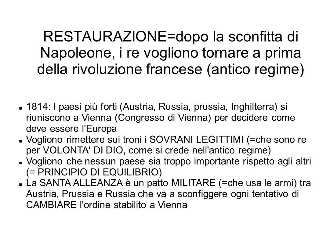 RESTAURAZIONE=dopo la sconfitta di Napoleone, i re vogliono tornare a prima della rivoluzione francese (antico regime)