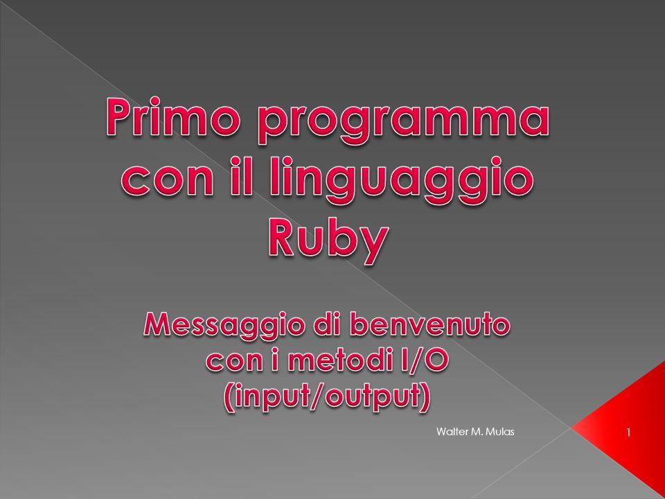 Primo programma con il linguaggio Ruby