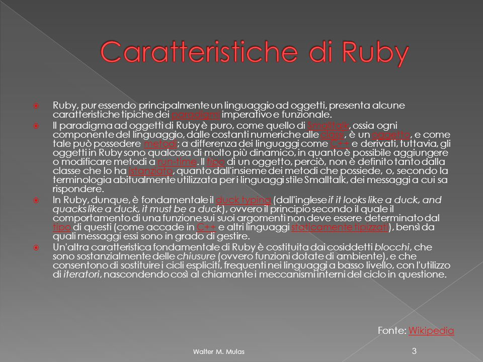Caratteristiche di Ruby