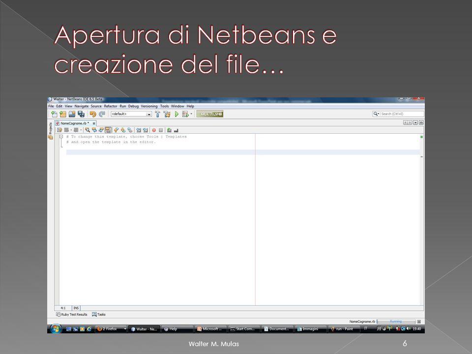 Apertura di Netbeans e creazione del file…