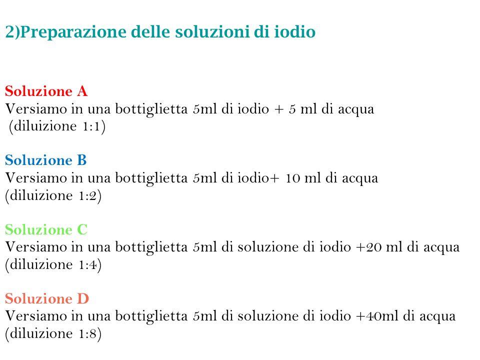 2)Preparazione delle soluzioni di iodio
