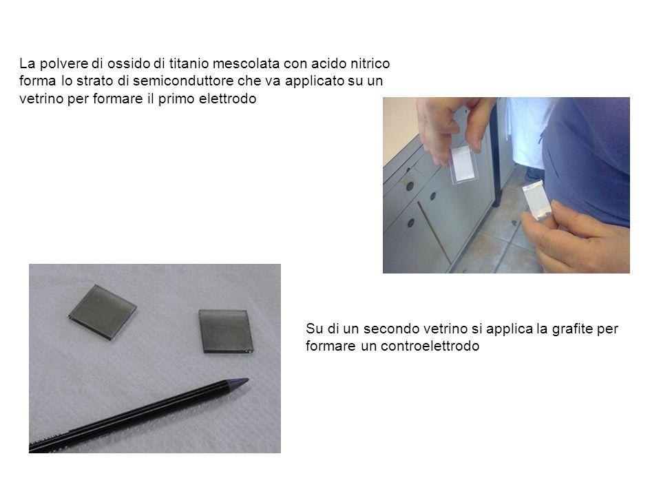 La polvere di ossido di titanio mescolata con acido nitrico forma lo strato di semiconduttore che va applicato su un vetrino per formare il primo elettrodo