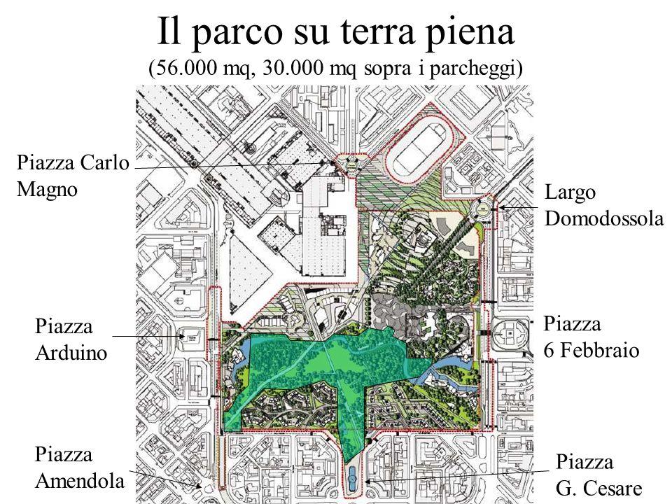 Il parco su terra piena (56.000 mq, 30.000 mq sopra i parcheggi)