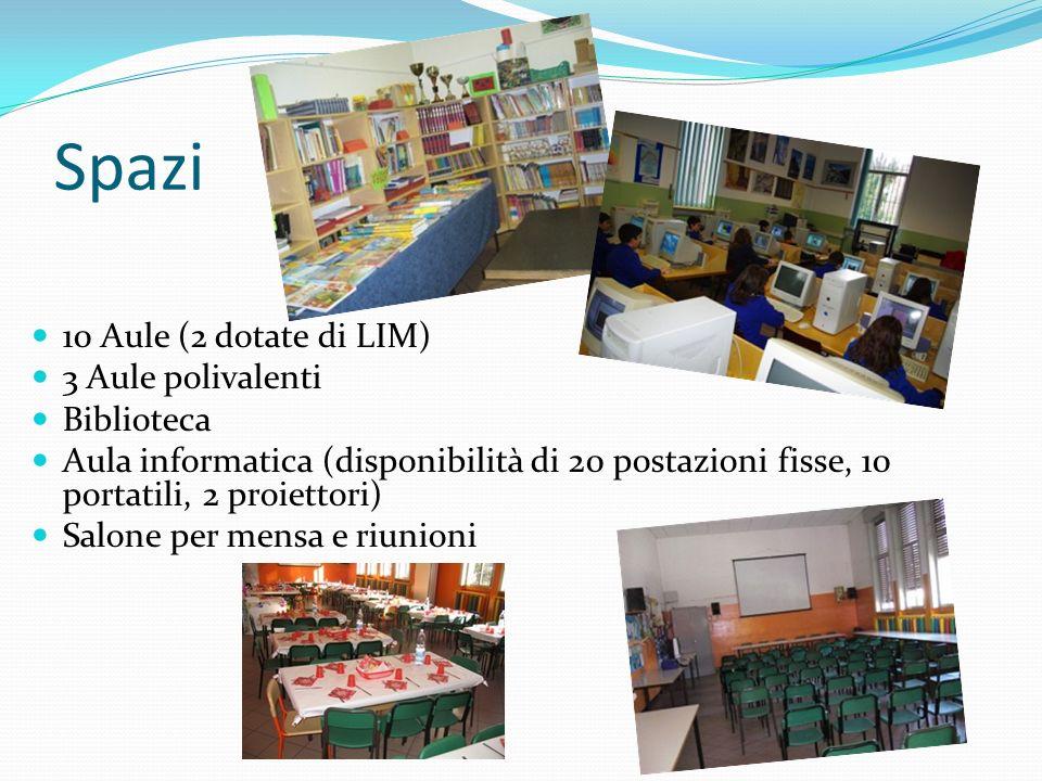 Spazi 10 Aule (2 dotate di LIM) 3 Aule polivalenti Biblioteca