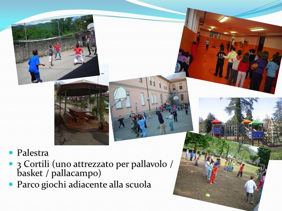 Palestra 3 Cortili (uno attrezzato per pallavolo / basket / pallacampo) Parco giochi adiacente alla scuola.