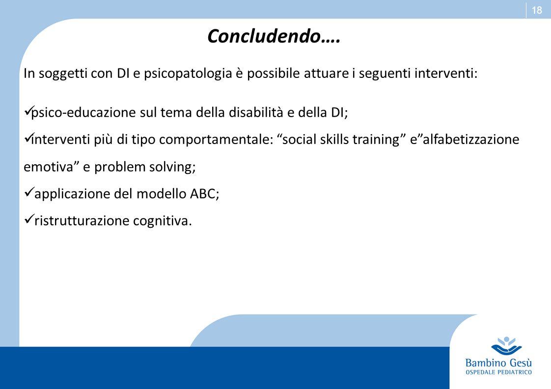Concludendo…. In soggetti con DI e psicopatologia è possibile attuare i seguenti interventi: psico-educazione sul tema della disabilità e della DI;