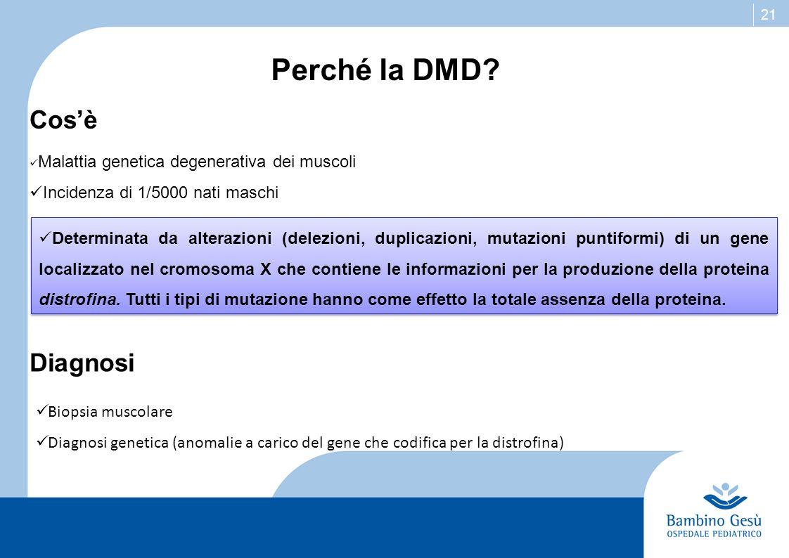 Perché la DMD Cos'è Diagnosi Incidenza di 1/5000 nati maschi