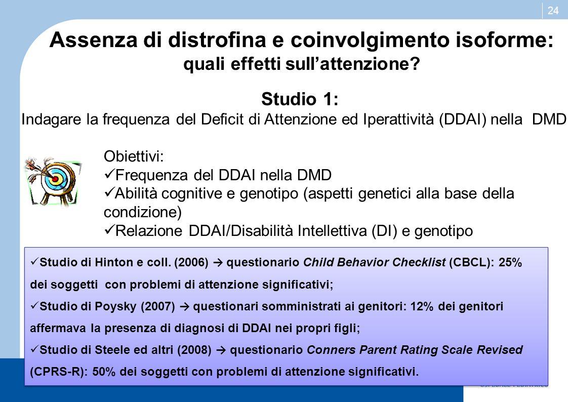 Assenza di distrofina e coinvolgimento isoforme:
