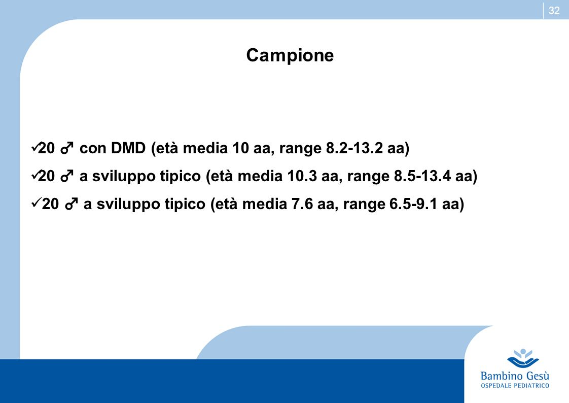 Campione 20 ♂ con DMD (età media 10 aa, range 8.2-13.2 aa)