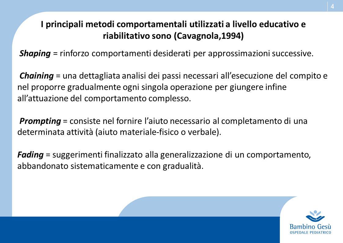 I principali metodi comportamentali utilizzati a livello educativo e riabilitativo sono (Cavagnola,1994)