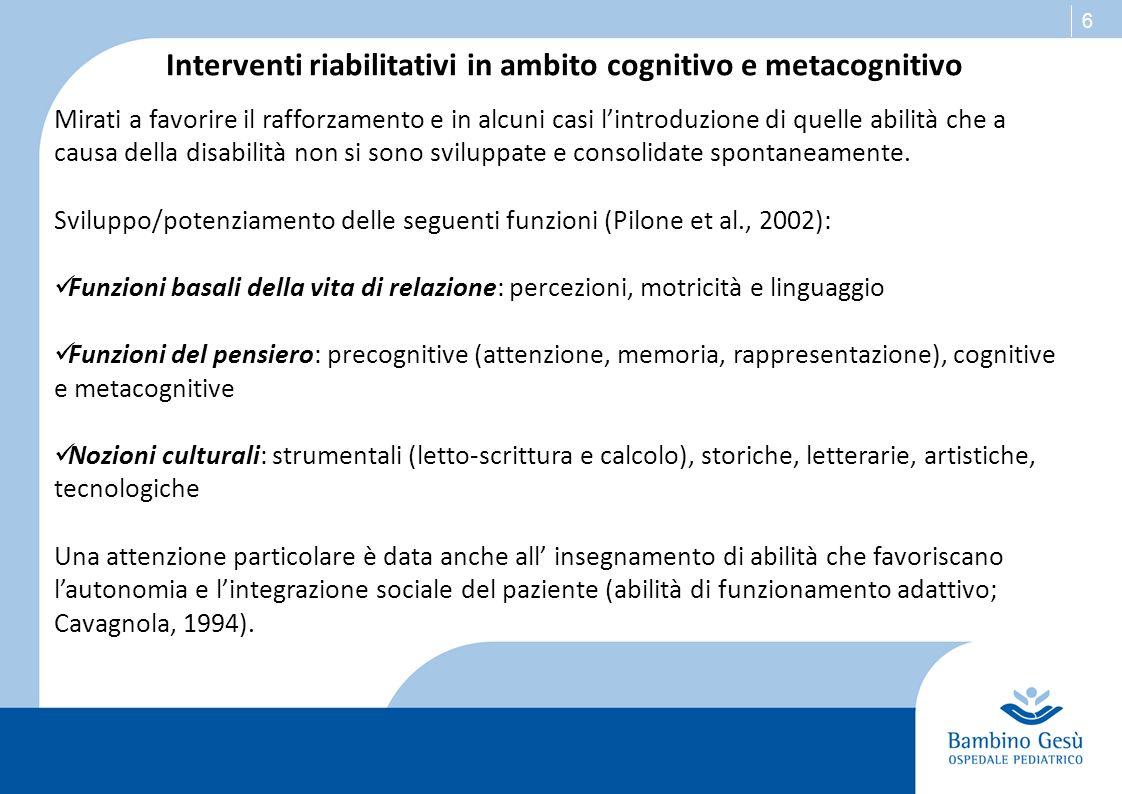 Interventi riabilitativi in ambito cognitivo e metacognitivo