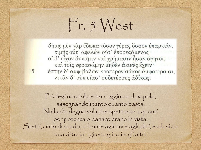 Fr. 5 West Privilegi non tolsi e non aggiunsi al popolo,