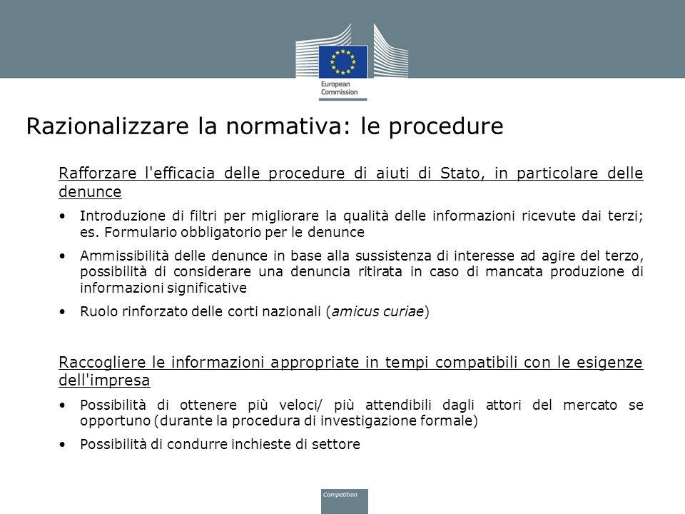 Razionalizzare la normativa: le procedure